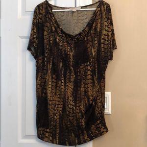 Michael Kors Short Sleeve Snake Skin Dressy Shirt